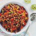 red quinoa veggie salad